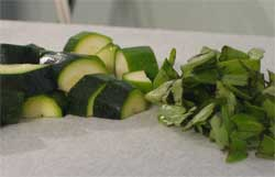 First zucchini, cut up