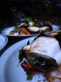Basil-scallop kebabs