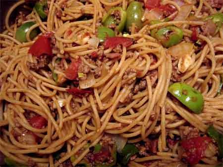 Cowboy spaghetti, Iowa City style
